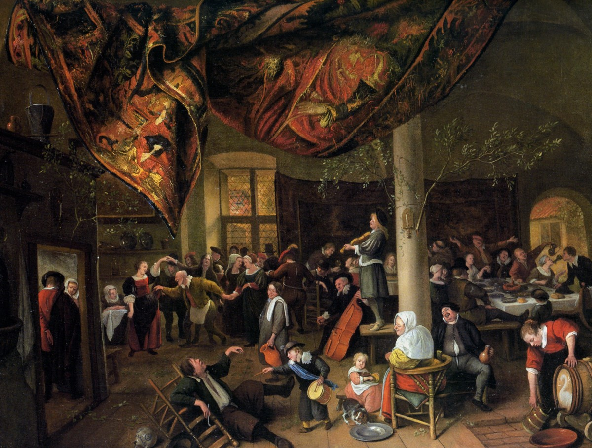 A Village Wedding Feast with Revellers and a dancing Party by Jan Steen