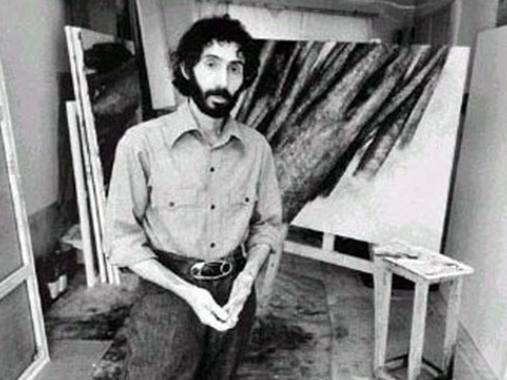 سهراب سپهری در کنار نقاشی معروف وی